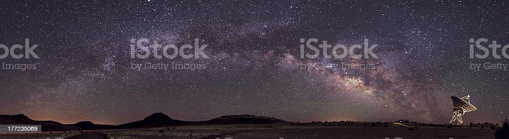 Radio Telescope and Milky Way stock photo
