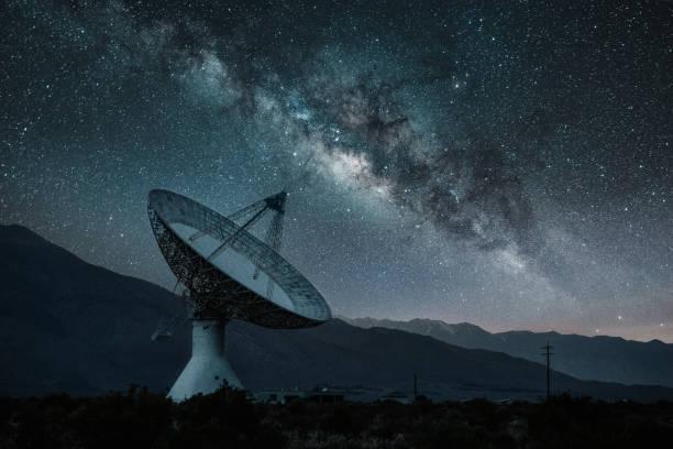 Radioteleskop Observatorium unter Sternenhimmel – Foto