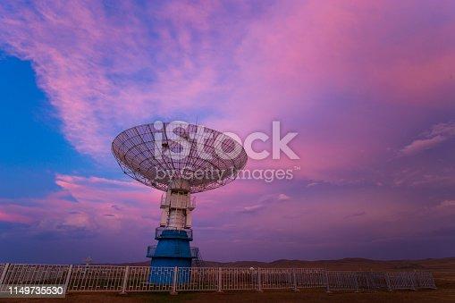 Radio telescope in sunset