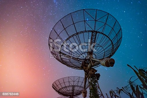 istock Radio telescope scene at night in China 638763446