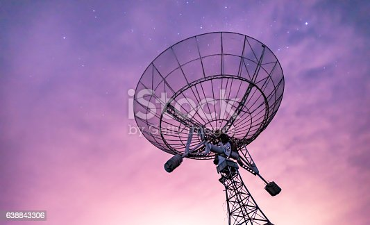 istock Radio telescope scene at night in China 638843306