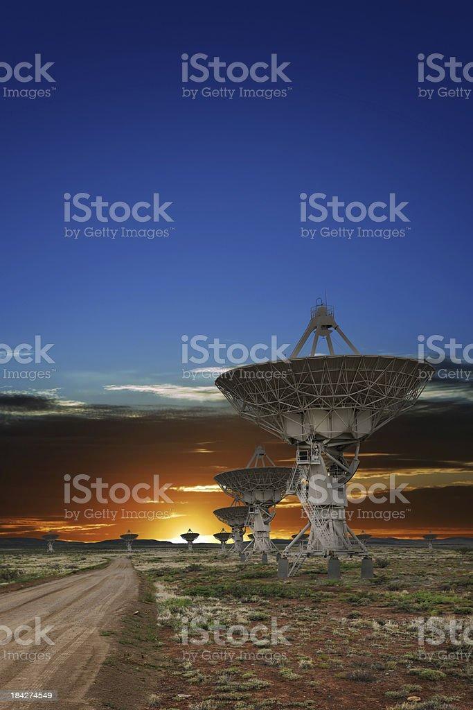 XXL radio telescope sunset royalty-free stock photo