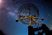 Radio telescopes and the Milky Way at night