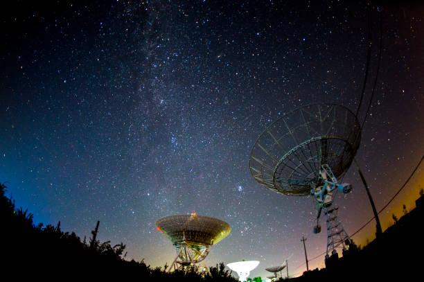 Radio telescopes and the Milky Way at night – zdjęcie