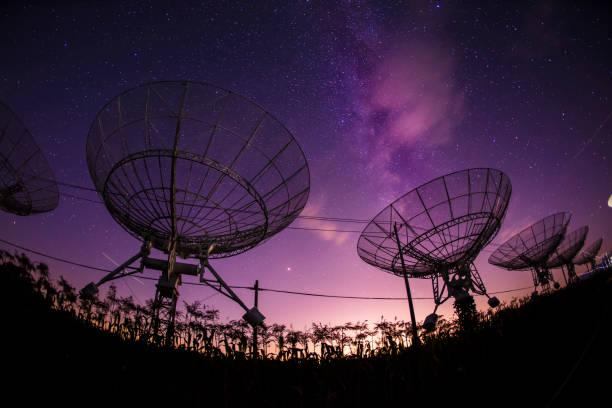 Radio telescopes and the Milky Way stock photo