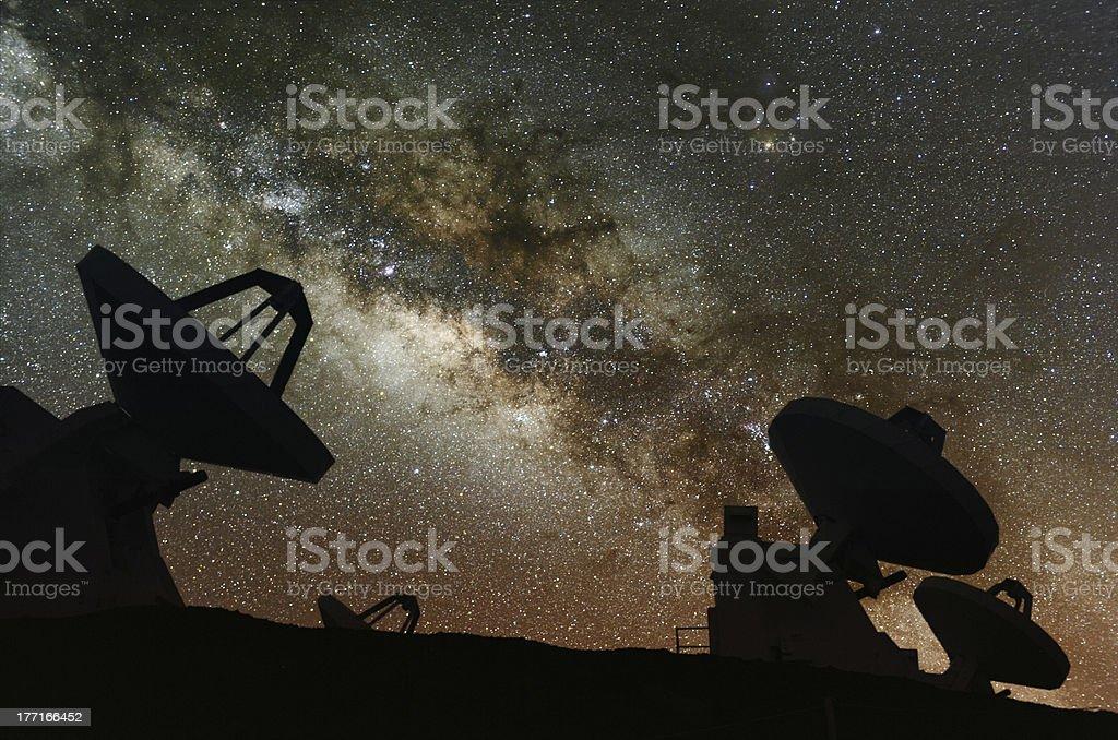Radio telescopes observe the Milky Way. royalty-free stock photo