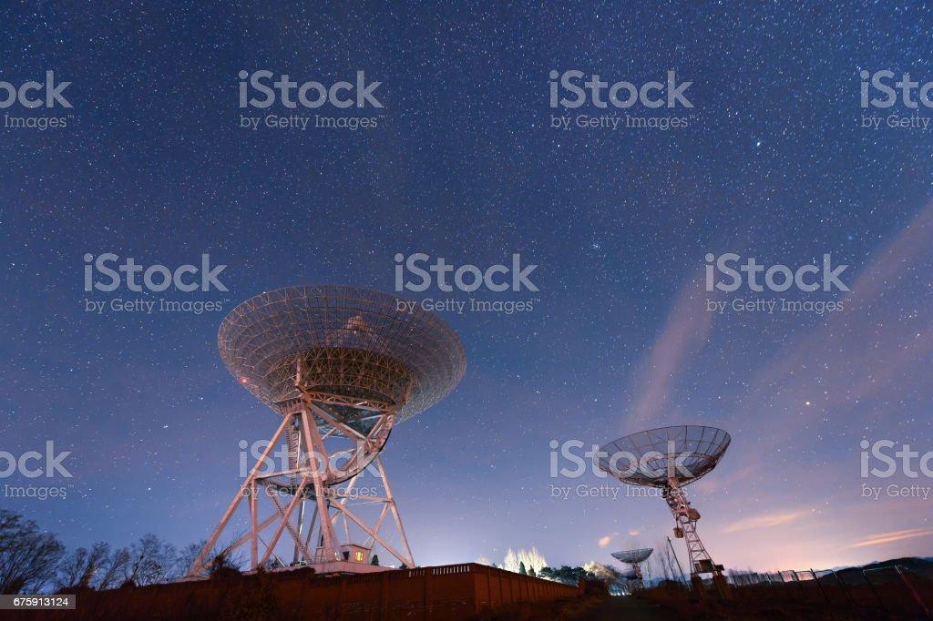 Radio telescopes observe the Milky Way stock photo