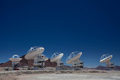 Landscape of Radio Telescopes Pointing in different directions.
