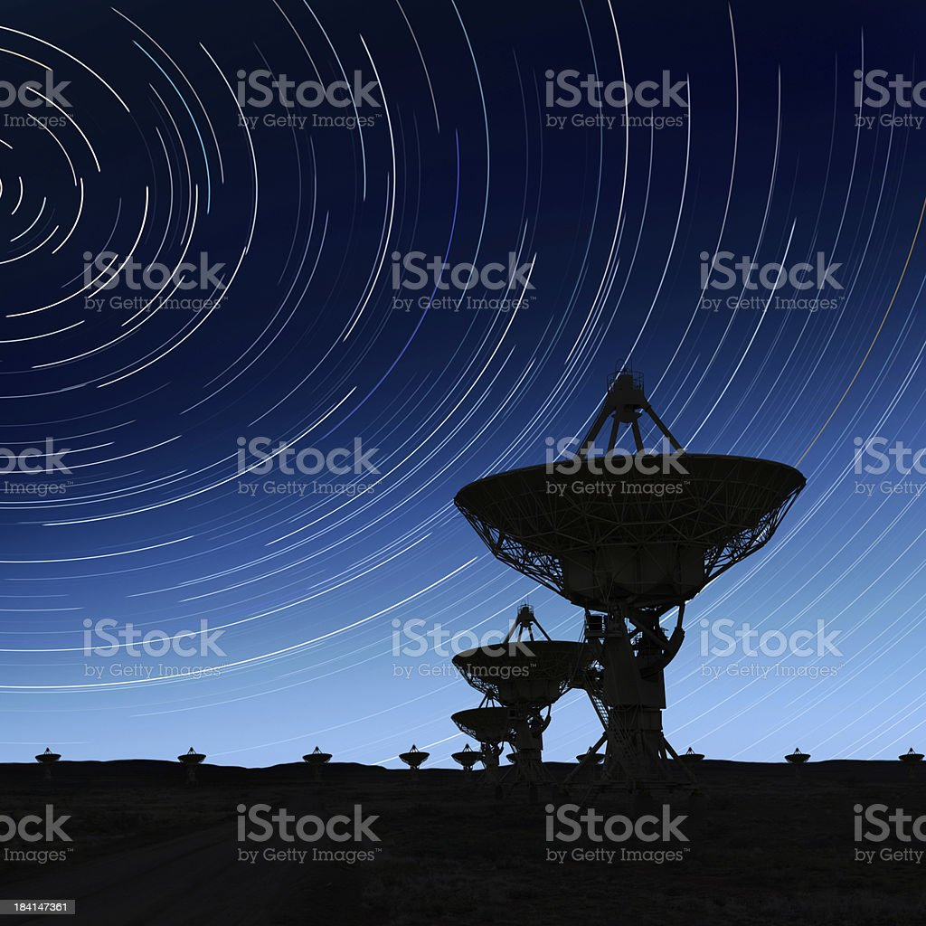 XXL radio telescopes silhouette stock photo