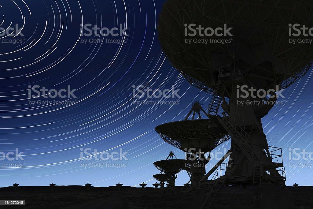 XL radio telescopes silhouette stock photo
