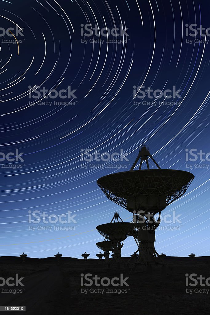 XXL radio telescopes silhouette royalty-free stock photo