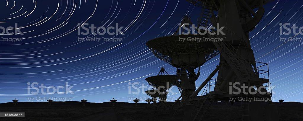 XL radio telescopes silhouette royalty-free stock photo