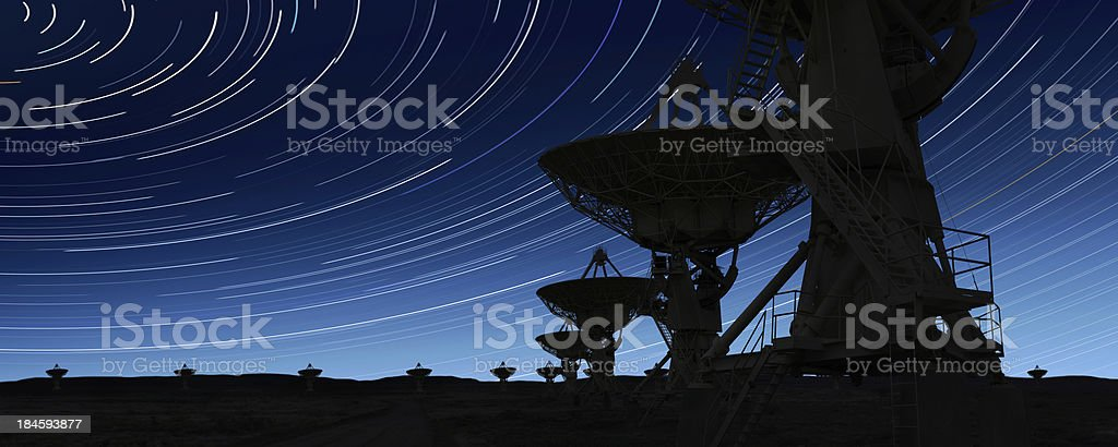 XL radio telescopes silhouette stock photo