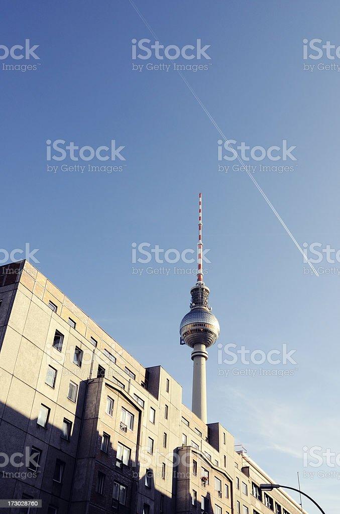Radio Tower And Plattenbau Berlin Stock Photo - Download