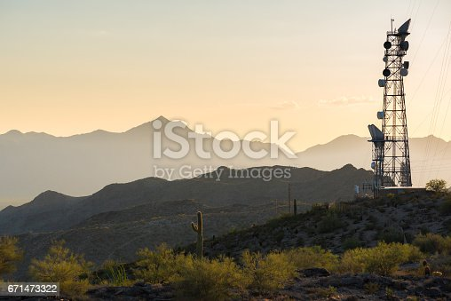 Photo of a radio/cell tower in the mountains of the Arizona desert