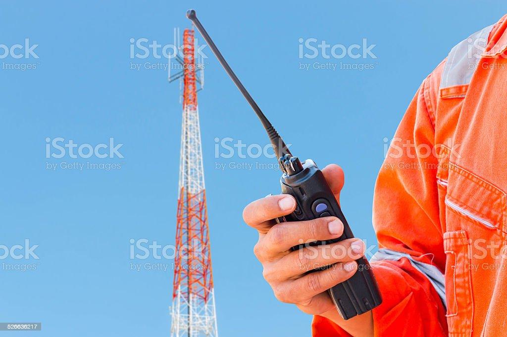 Radio trunk on antenna tower stock photo