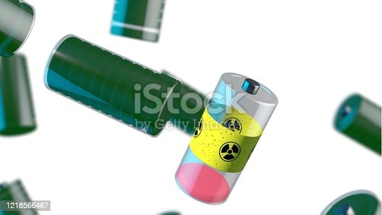 istock Radioactive battery among charged bataries on a white background. 1218566467