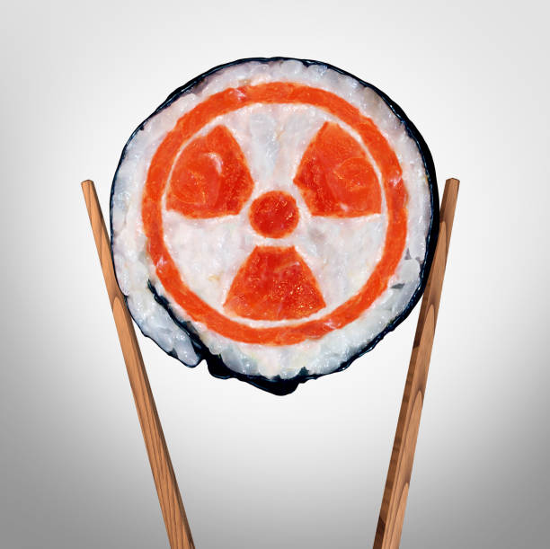 Radioactive Food Radioactive food and contaminated meal with radioactivity as a piece of sushi held by chopsticks as a metaphor for nuclear threat in asia with 3D illustration elements. irradiation stock pictures, royalty-free photos & images