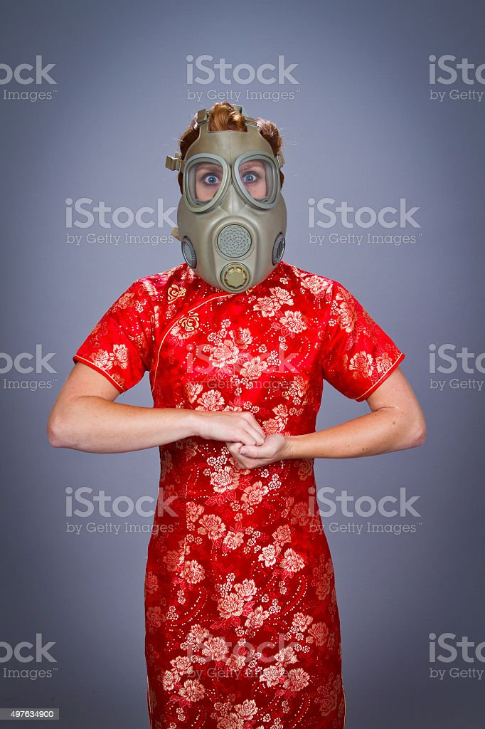 Radioactive Girl in Japanese Outfit stock photo