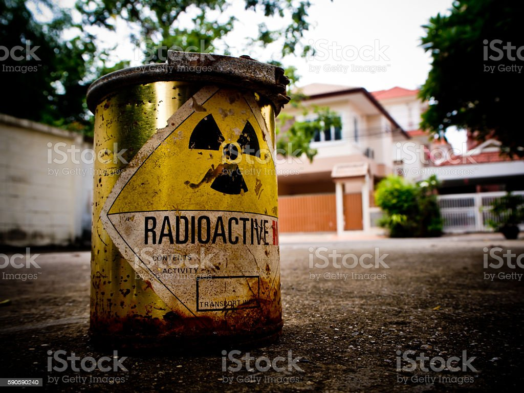 Radioactive material in the city stock photo