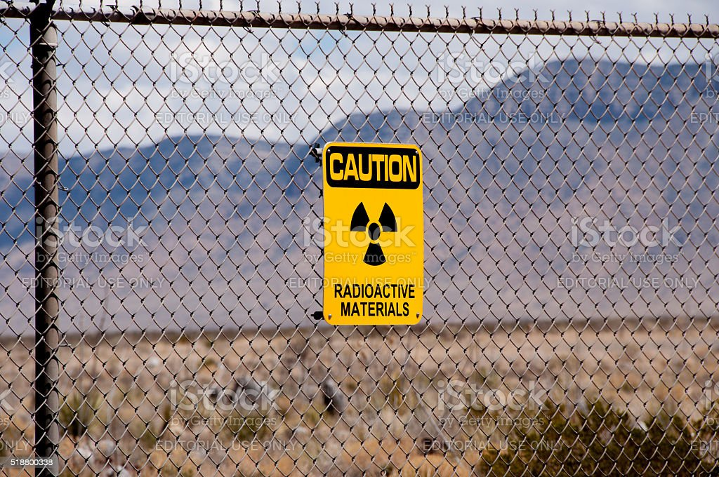 Radioactive Materials Sign at Site of First Atomic Bomb stock photo