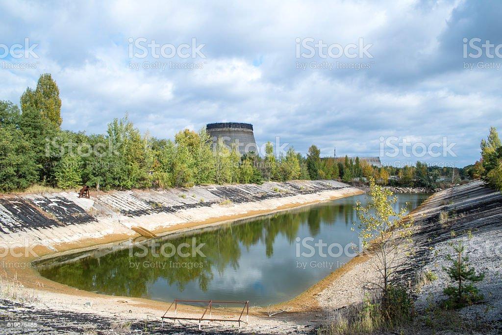 Radioactive pond in Chernobyl stock photo