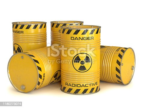 Radioactive waste yellow barrels with radioactive symbol 3d rendering isolated illustration