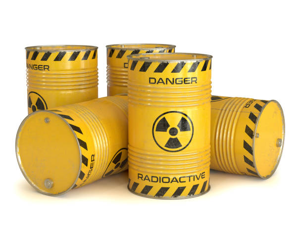 Radioactive waste yellow barrels with radioactive symbol Radioactive waste yellow barrels with radioactive symbol 3d rendering isolated illustration radioactive contamination stock pictures, royalty-free photos & images