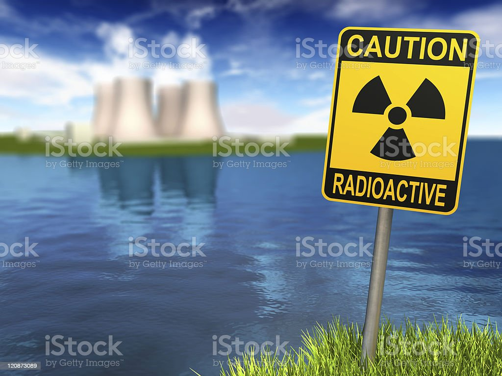 Radioactivity Sign And Nuclear Power Plant stock photo