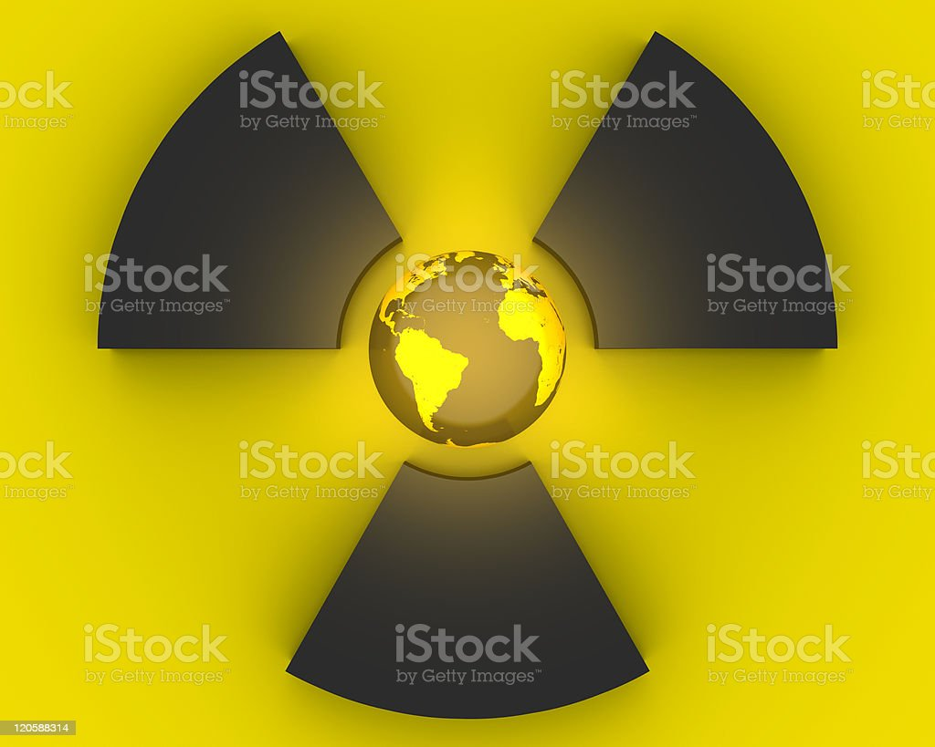 3D radioactivity symbol royalty-free stock photo