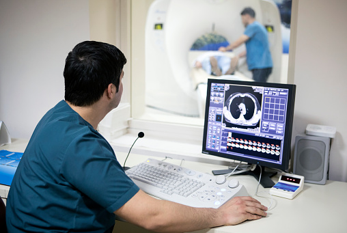 Radiologist At Work Stock Photo - Download Image Now