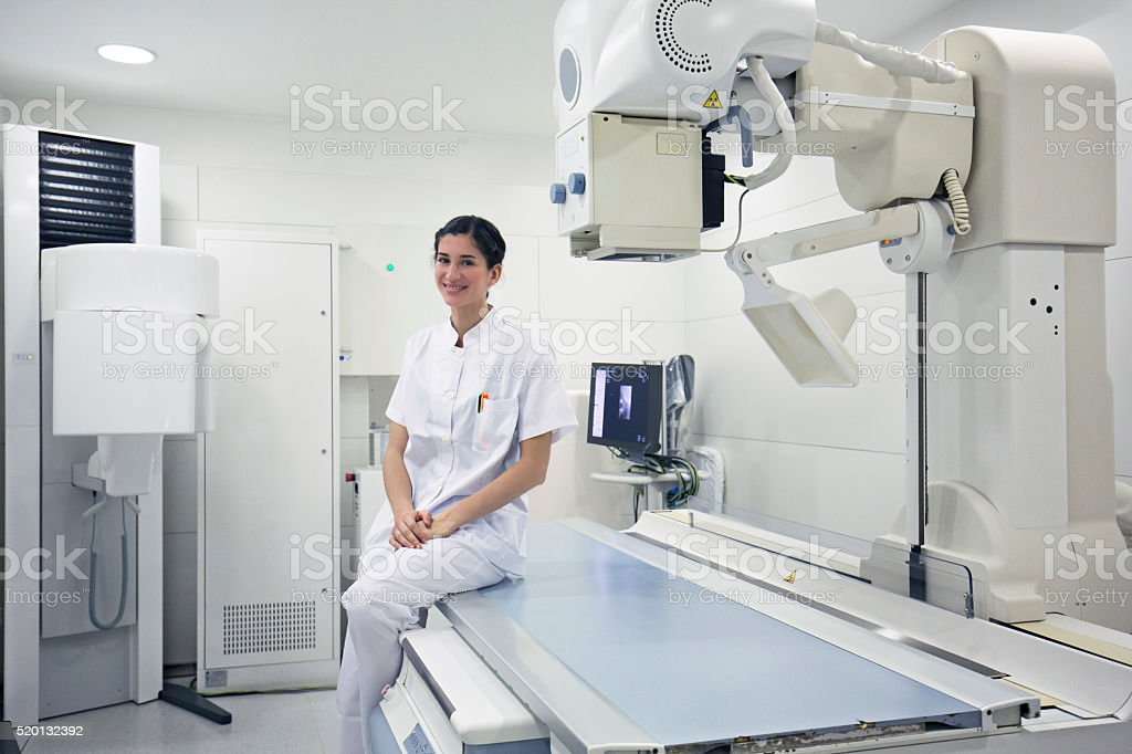 Radiologist standing in radiology department stock photo