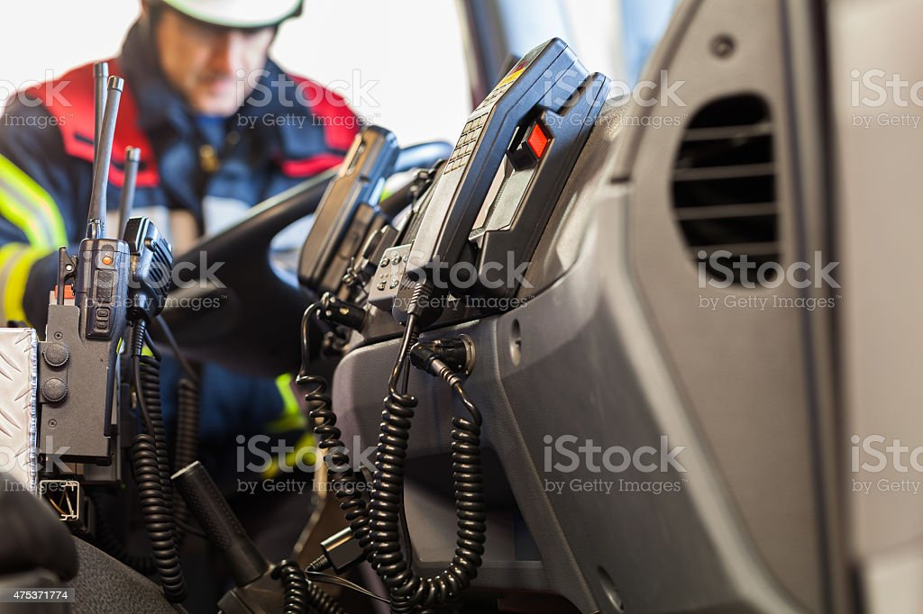 Radios in a fire truck stock photo