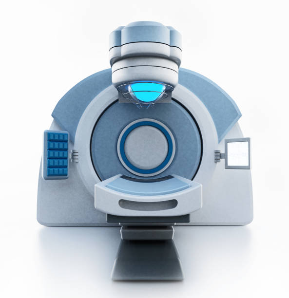 strahlentherapie behandlung maschinen (lineare teilchenbeschleuniger) isoliert auf weiss - strahlung stock-fotos und bilder