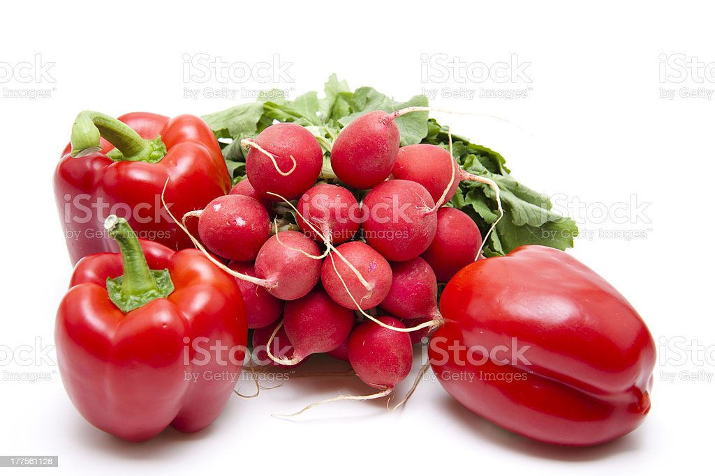 Radishes and red pepper royalty-free stock photo