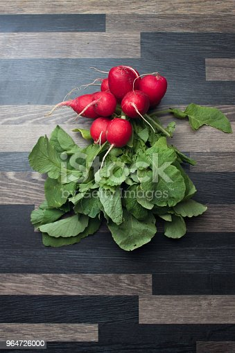 Radishes On A Gray Kitchen Counter Top Stock Photo & More Pictures of Close-up