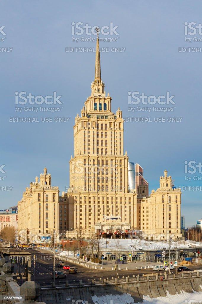 Radisson Royal Hotel (Hotel Ukraina) against blue sky stock photo