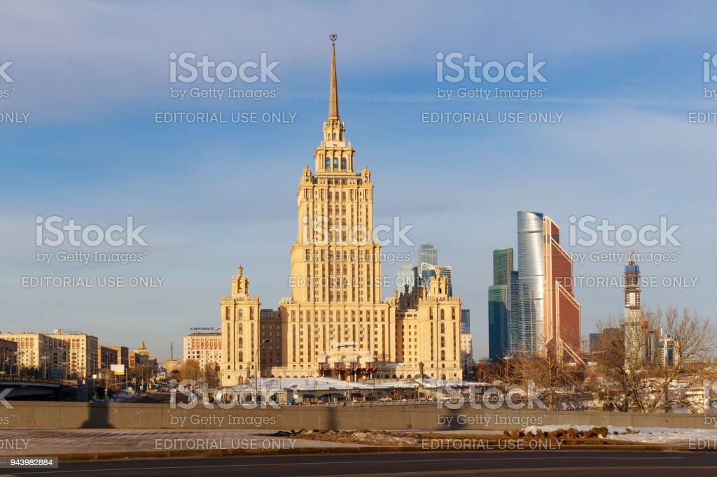 Radisson Royal Hotel (Hotel Ukraina) in spring morning stock photo