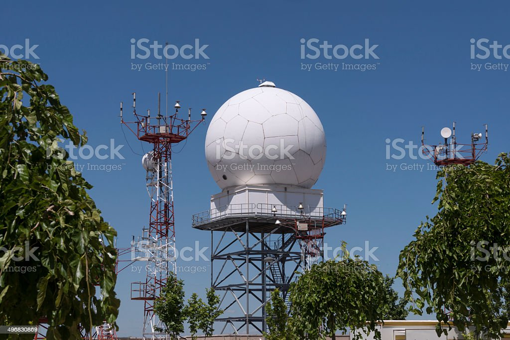 Radome installation with Sphere stock photo