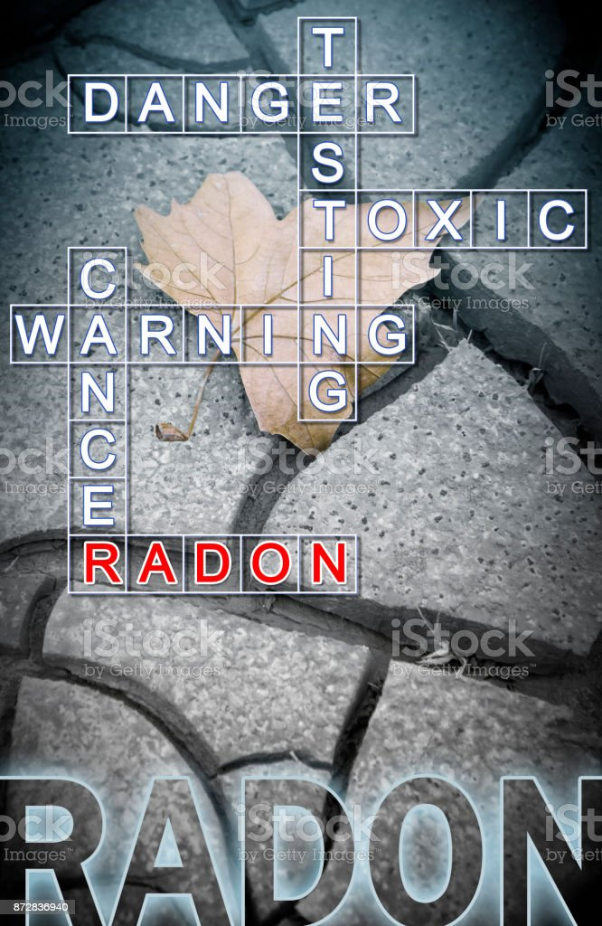 Radon gas - concept image with crossword puzzle stock photo