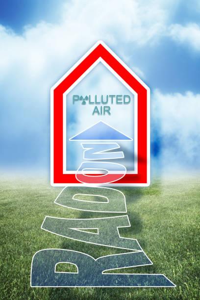 radon: het radioactieve gas dat in onze huizen gaat - conceptillustratie - radon test stockfoto's en -beelden