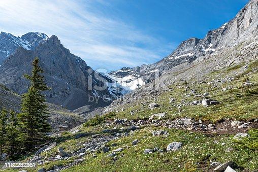 distant shot of Rae Glacier in Kananaskis Country