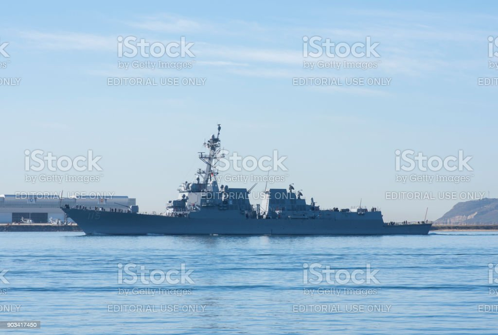 USS Rafael Peralta naval guided-missile warship on San Diego Bay stock photo