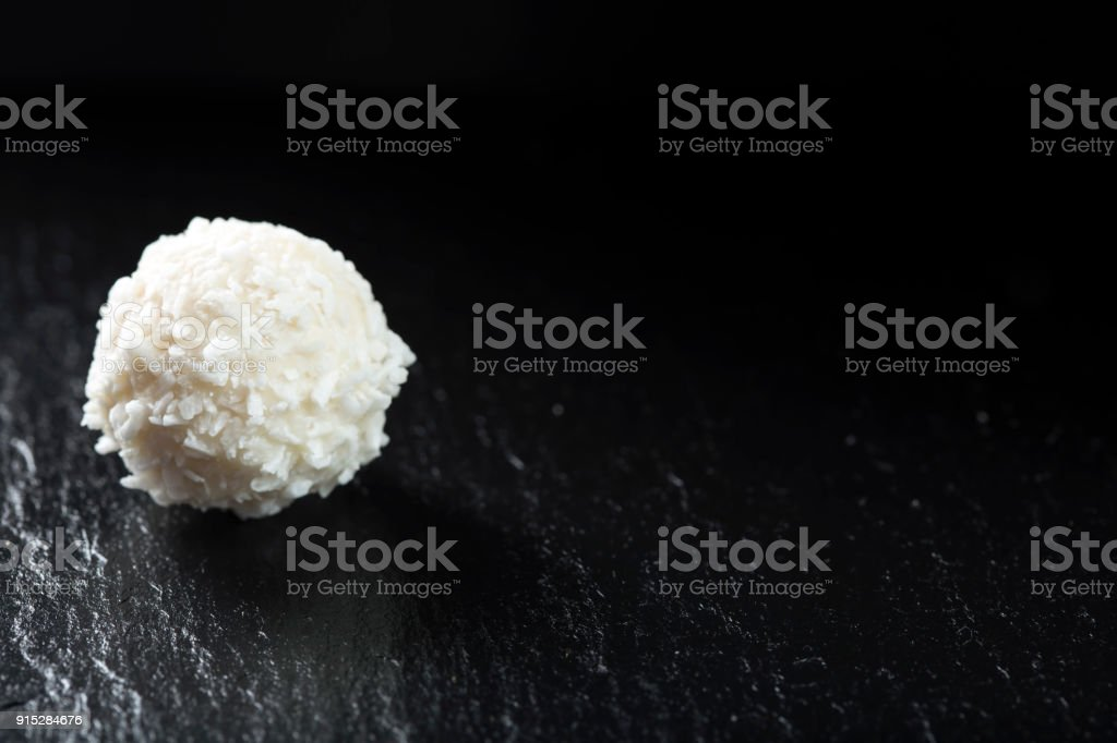 Raffaello white candy with coconut flakes stock photo