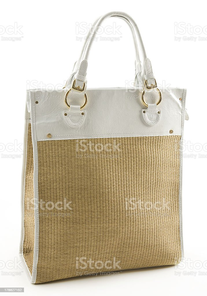 Raffia and white leather basket tote stock photo