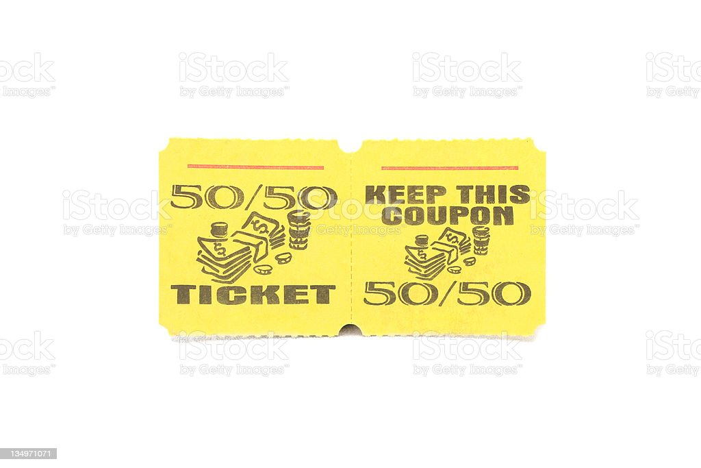 Raffle Ticket - White Background stock photo