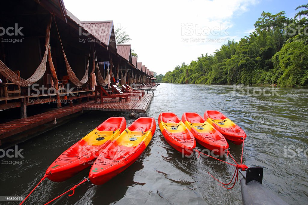 raft house on River Kwai in Kanchanaburi, Thailand. stock photo
