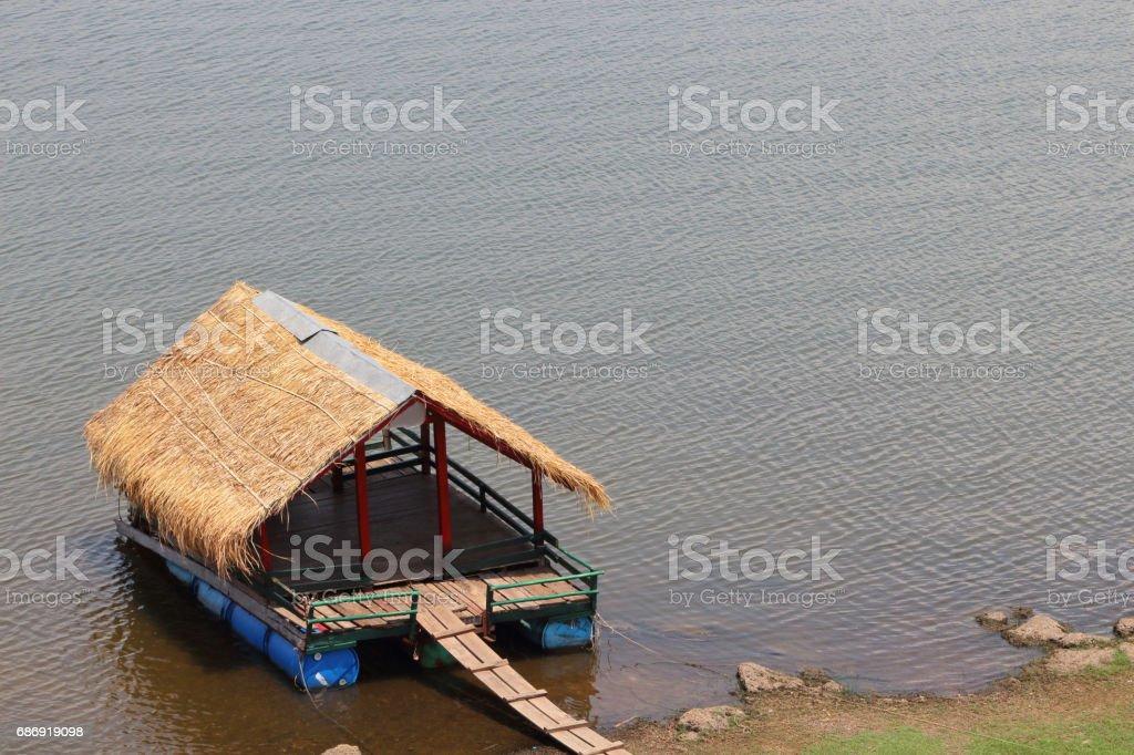 Raft in Lam Pao Dam, Kalasin Province, Thailand stock photo