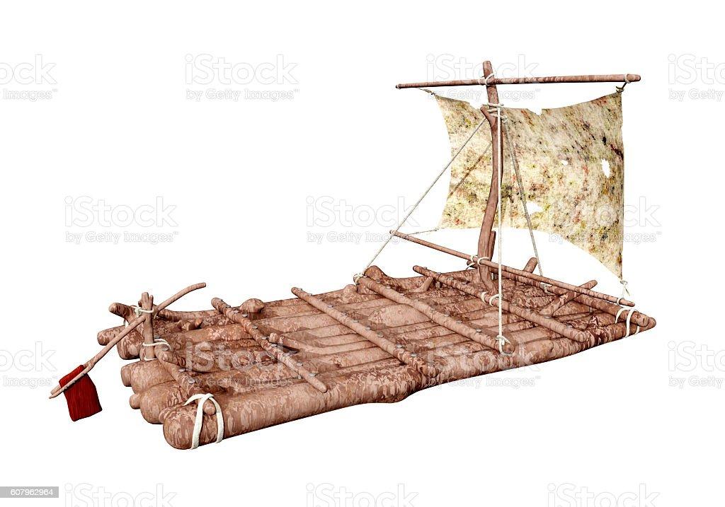 Raft isolated on white background stock photo