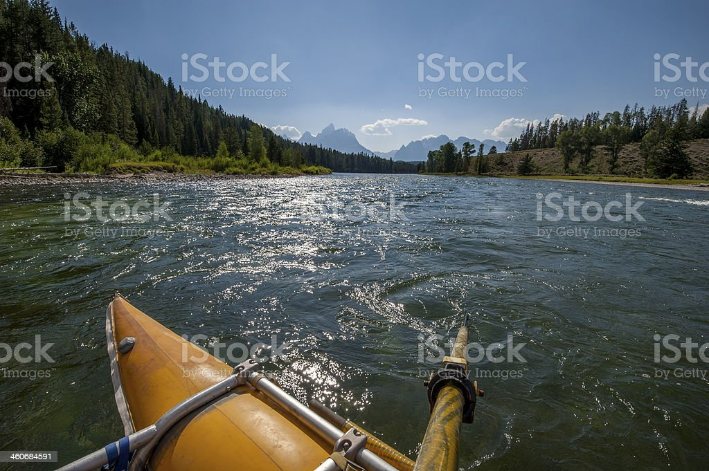 Raft on the Snake River stock photo